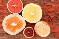 Glass of freshly liquidised grapefruit juice Stock Photography