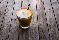Glass of freshly prepared cortado Royalty Free Stock Image