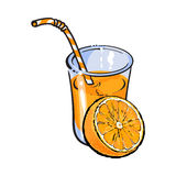 Glass of freshly squeezed juice with orange half, vector illustration Royalty Free Stock Image