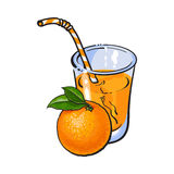 Glass of freshly squeezed juice with a whole orange Royalty Free Stock Image