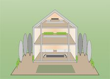 Glass fronted modern designed home and garden. Three storey glass fronted modern house with landscaped garden on plain green background stock illustration