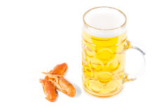 Beer and prawns Royalty Free Stock Photography