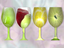 Glass of Fruit. Little magic and you have glasses of whole fruit, different colors and tastes Stock Image