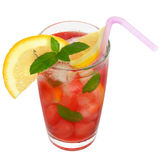 Glass with fruit cocktail and mint leaves isolated Stock Image