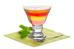 Glass with fruit jelly Stock Images