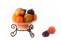 Glass fruitbowl apple orange Stock Photography