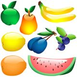 Glass Fruits Stock Images