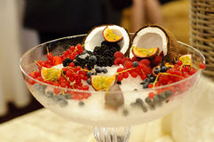Glass with fruits and ice Royalty Free Stock Photo