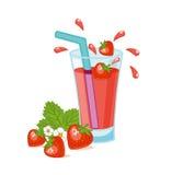 glass fruktsaftjordgubbe stock illustrationer