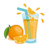 glass fruktsaftorange Vektor Illustrationer