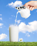 Glass Of Milk. Glass of full cream dairy milk being poured from a jug Royalty Free Stock Image