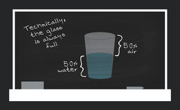 The Glass Is Always Full. Dark chalkboard vector illustration with a glass of water and a quote Royalty Free Stock Photography