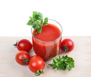 Glass full of freshly prepared tomato Stock Image