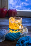Glass full of linden warming tea Royalty Free Stock Photography