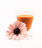 Glass full of orange colored cocktail and a flower on a white background Royalty Free Stock Image