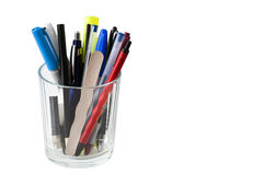 Glass full of pens Stock Photos