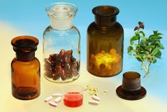 Glass full of  pharmaceuticals Stock Photo