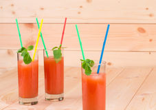 Glass full of tasty fresh grapefruit juice Royalty Free Stock Image