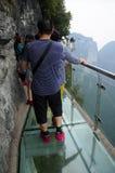 Glass gångbana på Tianmen Shan China Arkivfoton