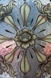 Glass garneringkonst av den thailändska templet, närbildskytte Arkivfoto