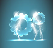 Glass gear icon with realistic lightnings Stock Photos