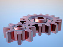 Glass gears. 3D rendering glass gears on blue background Royalty Free Stock Photos
