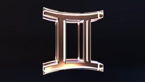 Glass Gemini Zodiac sign, 3D rendering. Glass Zodiac sign, part of the set. 3D stock illustration