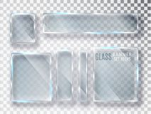Glass genomskinlig plattauppsättning Glass moderna baner för vektor som isoleras på genomskinlig bakgrund Plant exponeringsglas R stock illustrationer