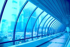 Glass geometric corridor of the modern building Stock Photography