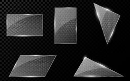 Glass geometric objects with a cyber pattern from honeycombs. A set of blank banners for your projects. Hi-tech in design. Realist Stock Photo