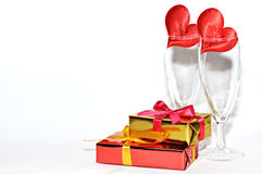 Glass, gift and hearts  on white background, Valentines day Stock Photography