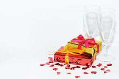 Glass, gift and hearts  on white background, Valentines day Royalty Free Stock Image