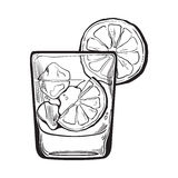 Glass of gin, vodka, soda water with ice and lime. Sketch style vector illustration isolated on white background. Realistic hand drawing of transparent alcohol Royalty Free Stock Photo