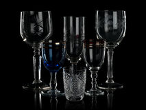 Glass glasses on the black Royalty Free Stock Photo