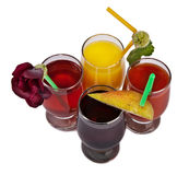 Glass glasses of different juice. Multi-colored, fresh Royalty Free Stock Photography