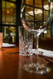 Glass glasses on the table. In the restaurant royalty free stock photo