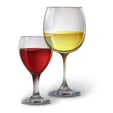 Glass glasses with wine. Wine glasses with white and red wine, cocktails, rum, or brandy. Realistic vector image Stock Photo