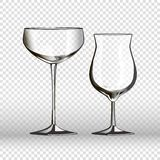 Glass glassware 3D realistic vector  icons on transparent background Royalty Free Stock Photos