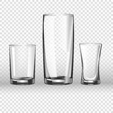 Glass glassware 3D realistic vector  icons on transparent background Stock Photo