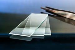Glass glidbanor för mikroskop som reflekterar på den glass tabellen med plattång på bakgrunden Royaltyfri Fotografi