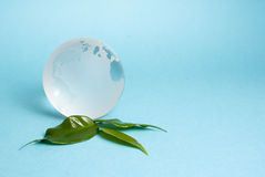 Glass Globe. Figure with continents Stock Photo