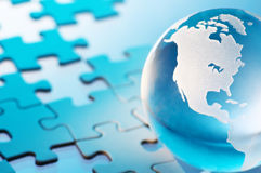 Free Glass Globe And Unfinished Puzzle. Royalty Free Stock Photo - 36252215