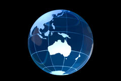 Glass Globe on Black Australia Royalty Free Stock Images