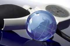 Glass globe with blood pressure Stock Photography