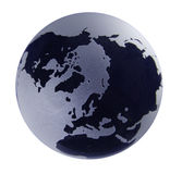 Glass Globe with blue shading. Cut-out Polar view of a glass earth globe with blue tint royalty free stock photo