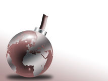 Glass globe bomb. With world map royalty free illustration