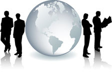 Glass Globe With Businessmen Silhouettes Royalty Free Stock Image