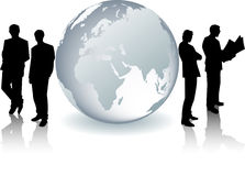 Glass Globe With Businessmen Silhouettes Stock Photography