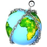 Glass globe with chains and manometer. Royalty Free Stock Photography