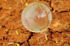 Glass globe on dry soil Stock Photo